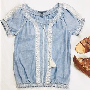 LUCKY BRAND JEAN PEASANT TOP SHORT SLEEVE